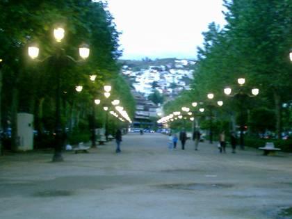 El Paseo del Salón, iluminado.